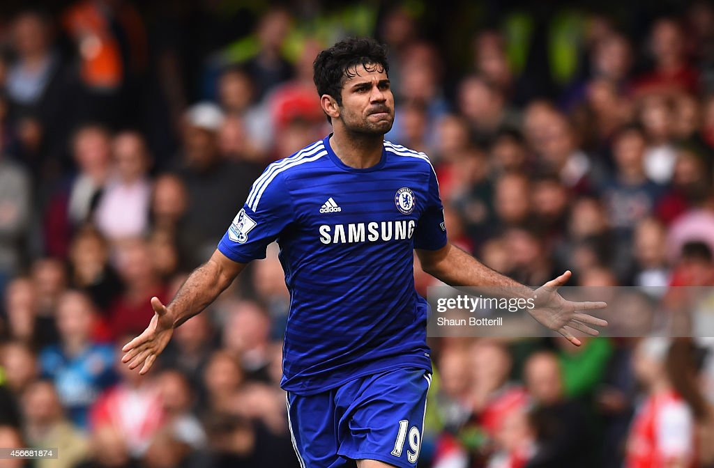 Diego Costa of Chelsea celebrates scoring their second goalduring the Barclays Premier League match between Chelsea and Arsenal at Stamford Bridge on...
