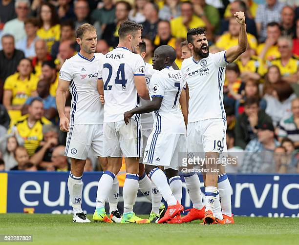 Diego Costa of Chelsea celebrates scoring their winning goal during the Premier League match between Watford and Chelsea at Vicarage Road on August...