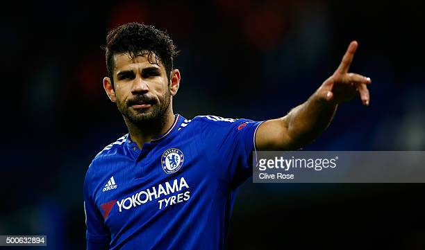 Diego Costa of Chelsea celebrates the first Chelsea goal during the UEFA Champions League Group G match between Chelsea FC and FC Porto at Stamford...