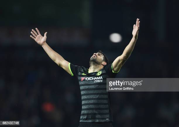 Diego Costa of Chelsea celebrates winning the league after the Premier League match between West Bromwich Albion and Chelsea at The Hawthorns on May...