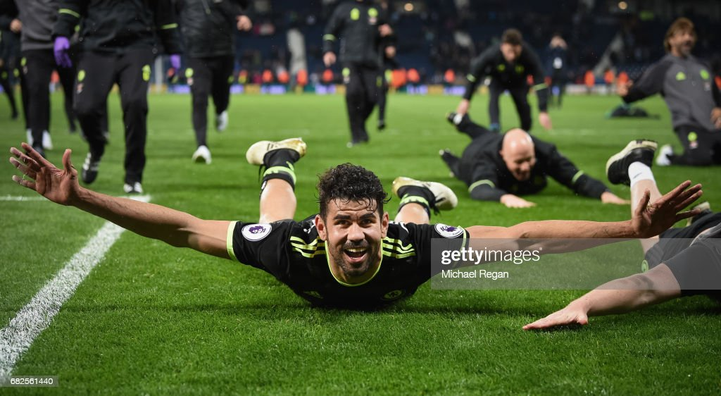 Diego Costa of Chelsea celebrates winning the league after the Premier League match between West Bromwich Albion and Chelsea at The Hawthorns on May 12, 2017 in West Bromwich, England. Chelsea are crowned champions after a 1-0 victory against West Bromwich Albion.