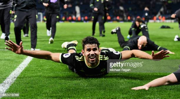 Diego Costa of Chelsea celebrates winning the leauge after the Premier League match between West Bromwich Albion and Chelsea at The Hawthorns on May...