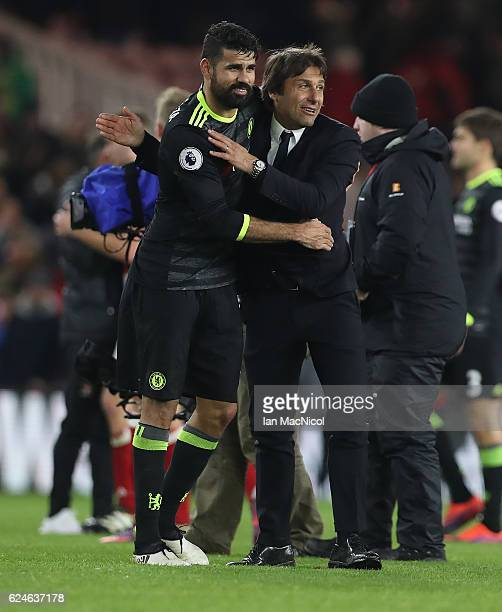 Diego Costa of Chelsea celebrates with Chelsea manager Antonio Conte during the Premier League match between Middlesbrough and Chelsea at Riverside...