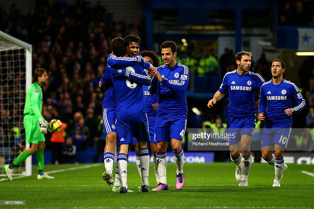 Diego Costa of Chelsea celebrates with team-mates after scoring his team's second goal during the Barclays Premier League match between Chelsea and Newcastle United at Stamford Bridge on January 10, 2015 in London, England.