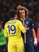 Diego Costa of Chelsea clashes with David Luiz of Paris SaintGermain during the UEFA Champions League Round of 16 match between Paris SaintGermain...