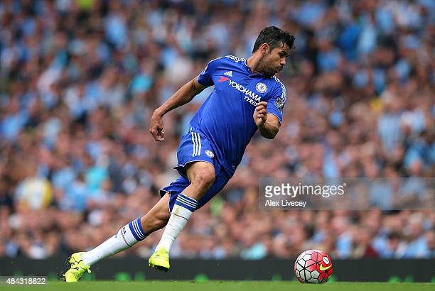Diego Costa of Chelsea controls the ball during the Barclays Premier League match between Manchester City and Chelsea at Etihad Stadium on August 16...