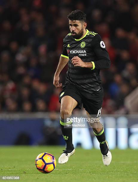 Diego Costa of Chelsea controls the ball during the Premier League match between Middlesbrough and Chelsea at Riverside Stadium on November 20 2016...