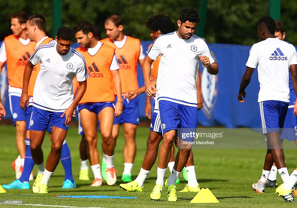 Diego Costa of Chelsea during a training session at Chelsea Training Ground on July 31 2015 in Cobham England