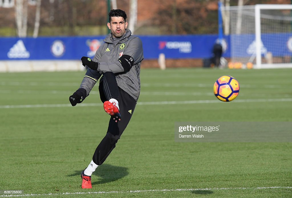 Diego Costa of Chelsea during a training session at Chelsea Training Ground on December 9, 2016 in Cobham, England.