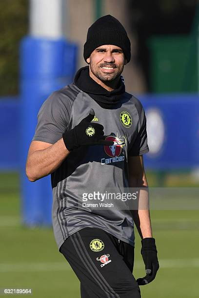 Diego Costa of Chelsea during a training session at Chelsea Training Ground on January 20 2017 in Cobham England