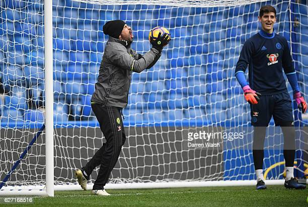 Diego Costa of Chelsea during a training session at Stamford Bridge on December 2 2016 in London England