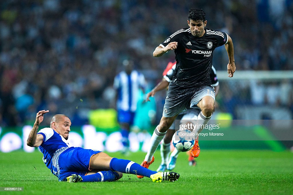 Diego Costa of Chelsea FC competes for the ball with Maicon Pereira of FC Porto during the UEFA Champions League Group G match between FC Porto and...