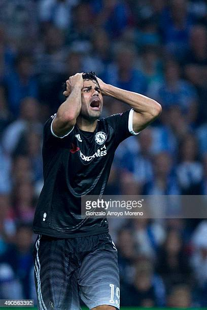 Diego Costa of Chelsea FC reacts to the referee during the UEFA Champions League Group G match between FC Porto and Chelsea FC at Estadio do Dragao...