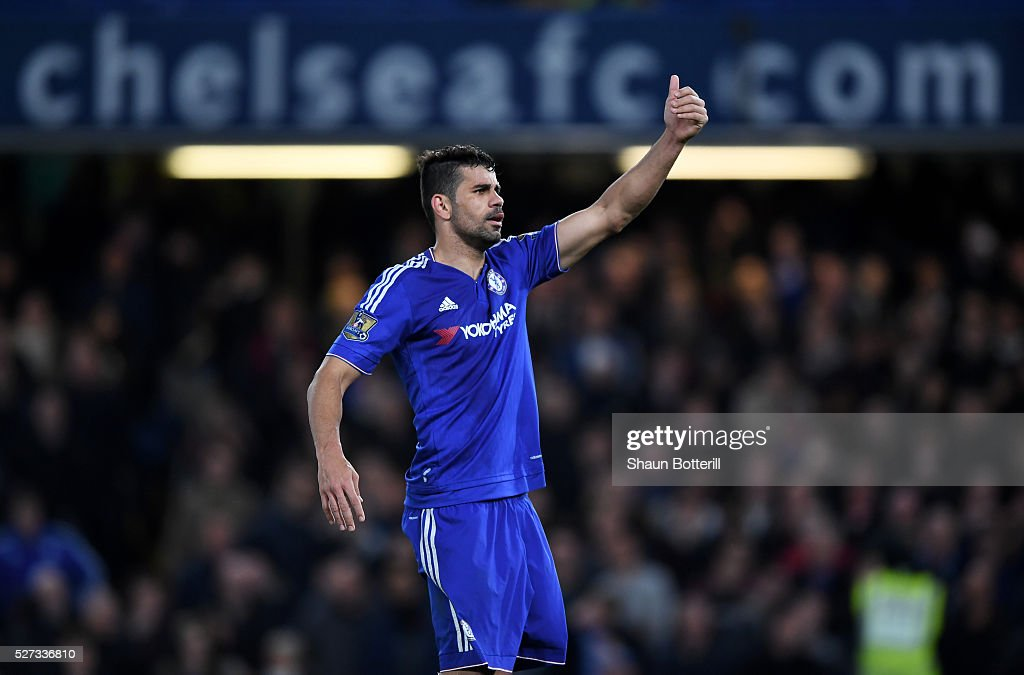 Diego Costa of Chelsea gestures during the Barclays Premier League match between Chelsea and Tottenham Hotspur at Stamford Bridge on May 02, 2016 in London, England.jd
