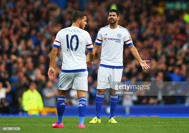 Diego Costa of Chelsea gestures to Eden Hazard of Chelsea during the Barclays Premier League match between Everton and Chelsea at Goodison Park on...