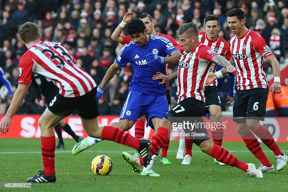 Diego Costa of Chelsea has a shot blocked by Toby Alderweireld of Southampton during the Barclays Premier League match between Southampton and...