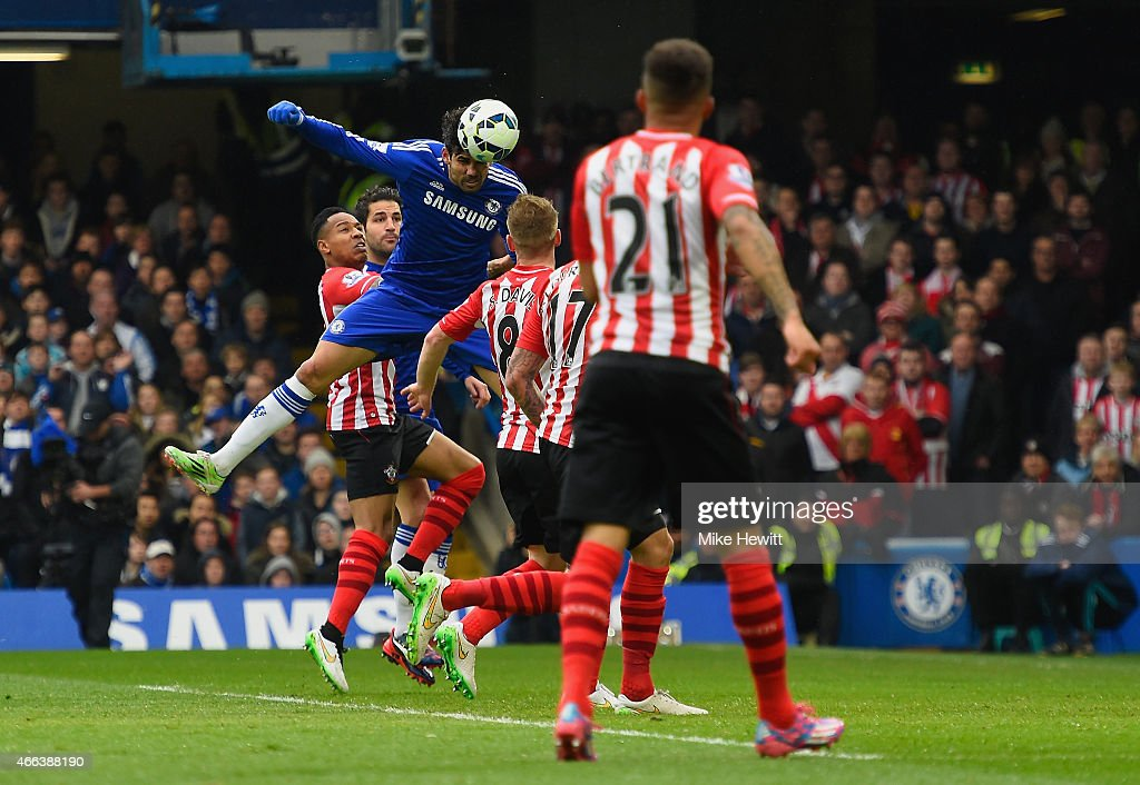 Diego Costa of Chelsea heads in the opening goal during the Barclays Premier League match between Chelsea and Southampton at Stamford Bridge on March 15, 2015 in London, England.