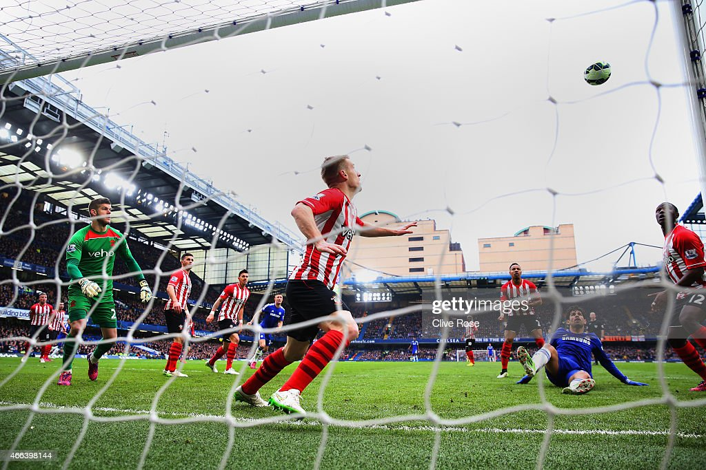 Diego Costa of Chelsea hits the woodwork during the Barclays Premier League match between Chelsea and Southampton at Stamford Bridge on March 15, 2015 in London, England.