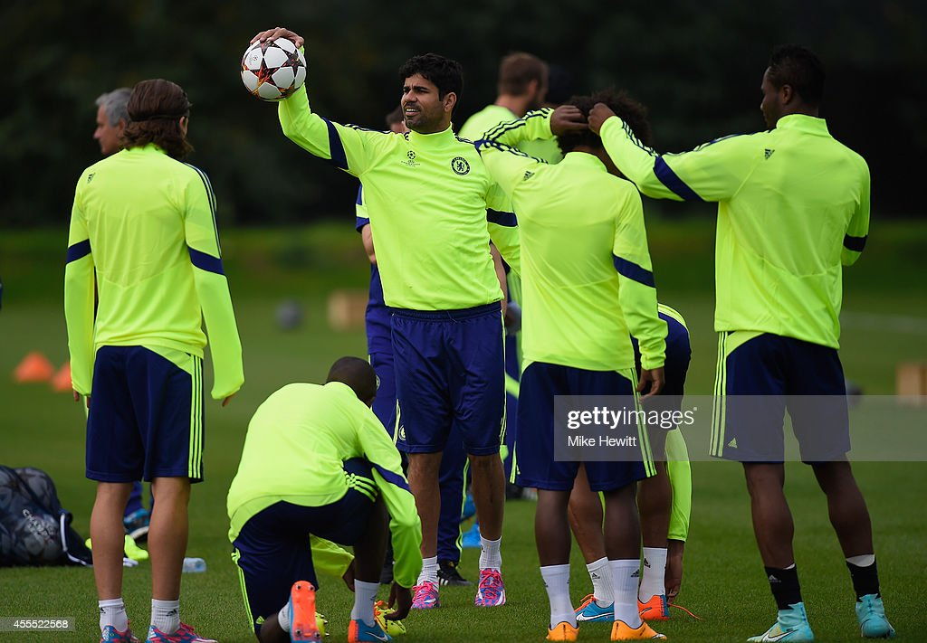Diego Costa of Chelsea in action during a Chelsea training session at the Chelsea training ground on September 16 2014 in Cobham United Kingdom
