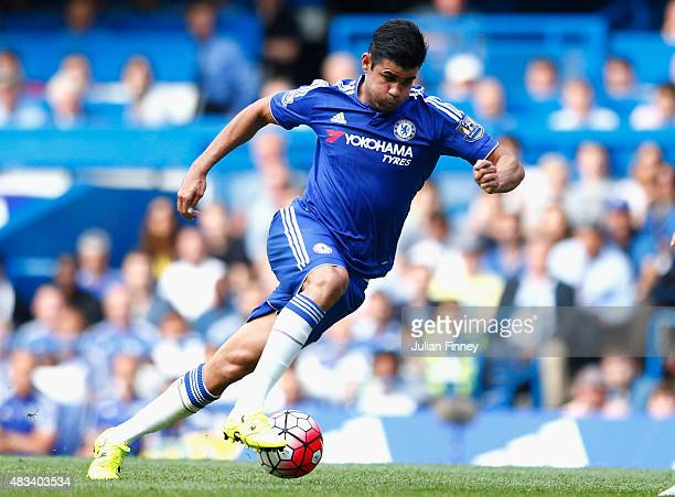 Diego Costa of Chelsea in action during the Barclays Premier League match between Chelsea and Swansea City at Stamford Bridge on August 8 2015 in...