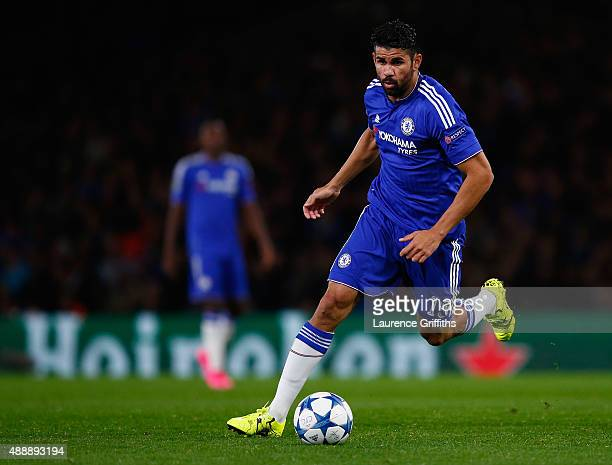 Diego Costa of Chelsea in action during the UEFA Champions League Group G match between Chelsea and Maccabi TelAviv at Stamford Bridge on September...