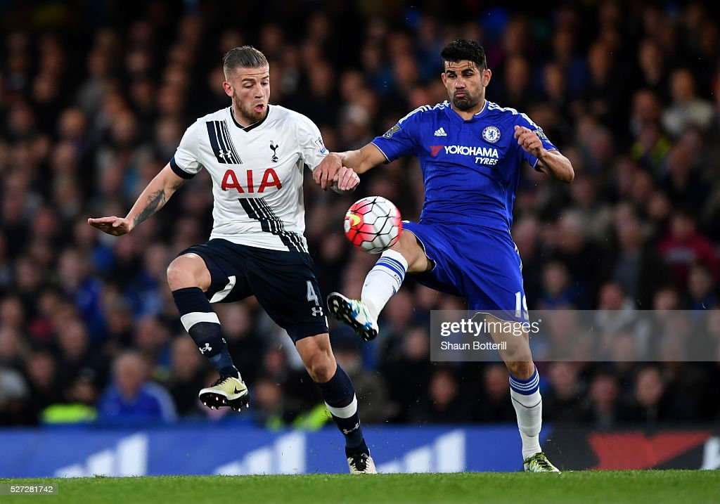 Diego Costa of Chelsea is challenged by Toby Alderweireld of Tottenham Hotspur during the Barclays Premier League match between Chelsea and Tottenham Hotspur at Stamford Bridge on May 02, 2016 in London, England.jd