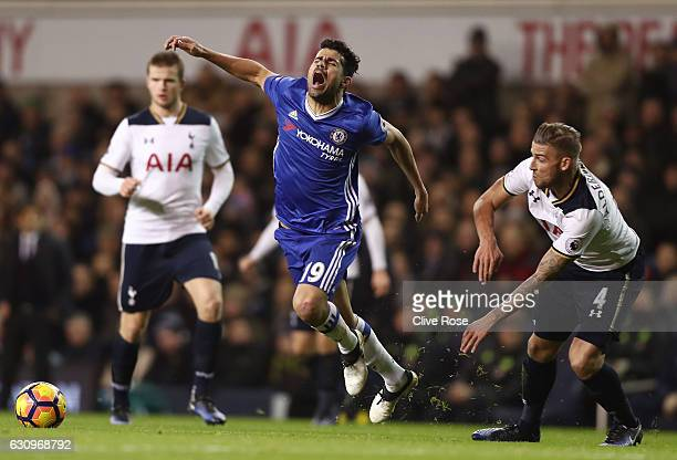 Diego Costa of Chelsea is fouled by Toby Alderweireld of Tottenham Hotspur during the Premier League match between Tottenham Hotspur and Chelsea at...