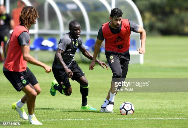 Diego Costa of Chelsea is put under pressure from N'Golo Kante of Chelsea during a Chelsea training session at Chelsea Training Ground on May 24 2017...