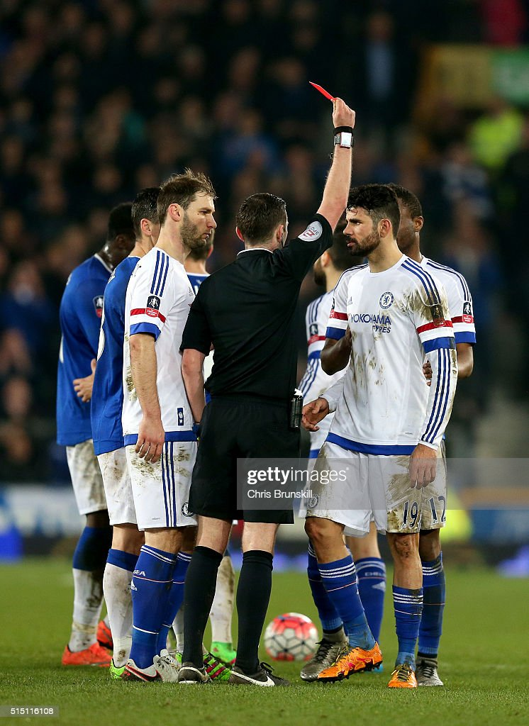 Diego Costa of Chelsea is shown a red card by referee Michael Oliver during the Emirates FA Cup sixth round match between Everton and Chelsea at Goodison Park on March 12, 2016 in Liverpool, England.