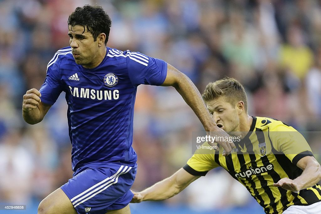 Diego Costa of Chelsea, Jan-Arie van der Heijden of Vitesse during the friendly match between Vitesse Arnhem and Chelsea at Gelredome on July 30, 2014 in Arnhem, The Netherlands