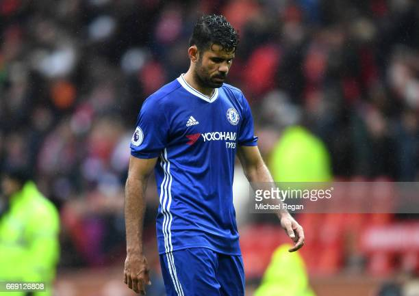 Diego Costa of Chelsea looks dejected after the Premier League match between Manchester United and Chelsea at Old Trafford on April 16 2017 in...