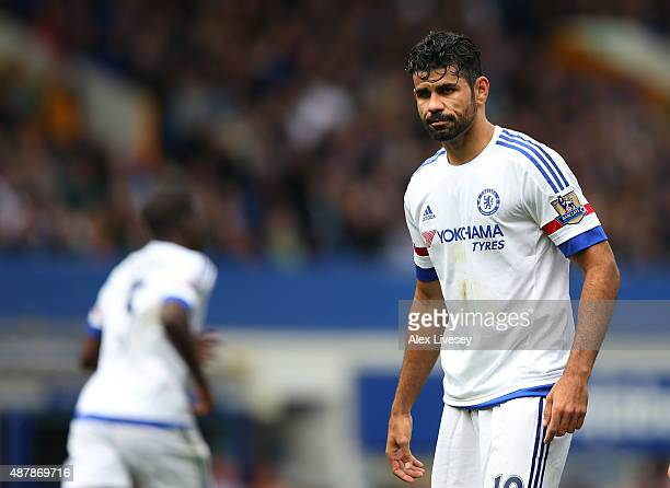 Diego Costa of Chelsea looks dejected during the Barclays Premier League match between Everton and Chelsea at Goodison Park on September 12 2015 in...