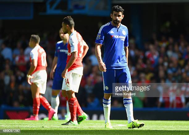 Diego Costa of Chelsea looks on during the Barclays Premier League match between Chelsea and Arsenal at Stamford Bridge on September 19 2015 in...