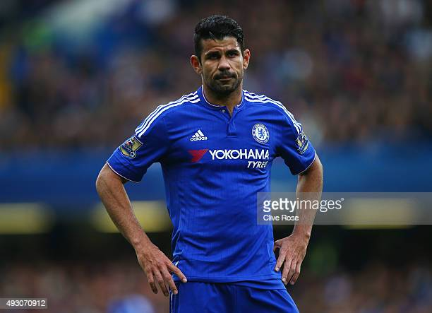 Diego Costa of Chelsea looks on during the Barclays Premier League match between Chelsea and Aston Villa at Stamford Bridge on October 17 2015 in...