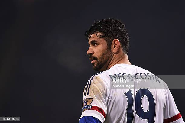 Diego Costa of Chelsea looks on during the Barclays Premier League match between Leicester City and Chelsea at the King Power Stadium on December14...
