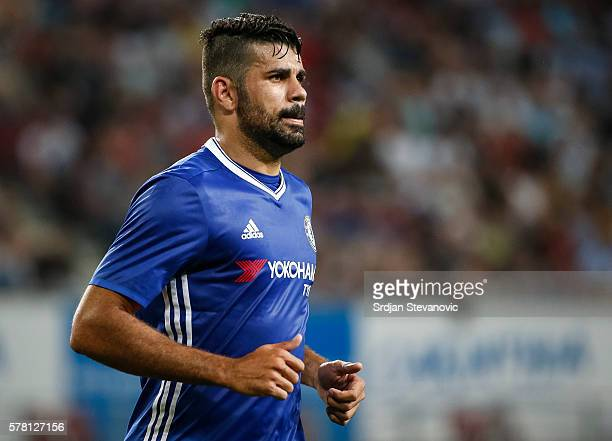 Diego Costa of Chelsea looks on during the friendly match between WAC RZ Pellets and Chelsea FC at Worthersee Stadion on July 20 2016 in Velden...
