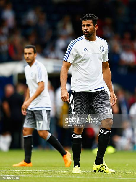 Diego Costa of Chelsea looks on with Pedro prior to the Barclays Premier League match between West Bromwich Albion and Chelsea at The Hawthorns on...