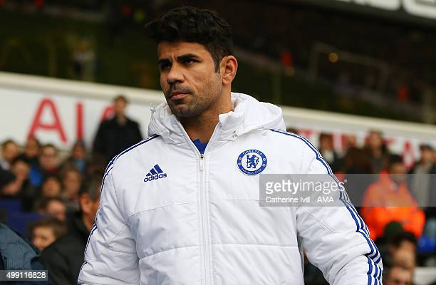 Diego Costa of Chelsea makes his way to the bench before the Barclays Premier League match between Tottenham Hotspur and Chelsea at White Hart Lane...