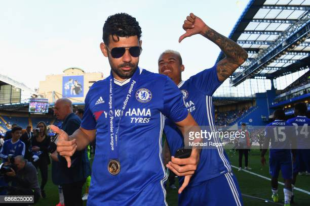 Diego Costa of Chelsea poses after the Premier League match between Chelsea and Sunderland at Stamford Bridge on May 21 2017 in London England
