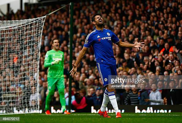 Diego Costa of Chelsea reacts after missing a chance during the Barclays Premier League match between West Ham United and Chelsea at Boleyn Ground on...