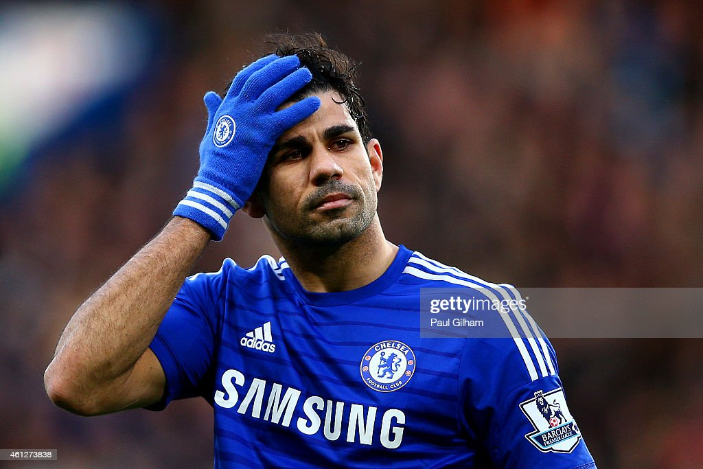 Diego Costa of Chelsea reacts during the Barclays Premier League match between Chelsea and Newcastle United at Stamford Bridge on January 10, 2015 in London, England.