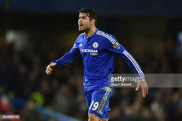 Diego Costa of Chelsea reacts during the Barclays Premier League match between Chelsea and West Bromwich Albion at Stamford Bridge on January 13 2016...