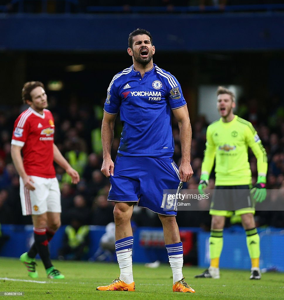 Diego Costa of Chelsea reacts during the Barclays Premier League match between Chelsea and Manchester United at Stamford Bridge on February 7, 2016 in London, England.