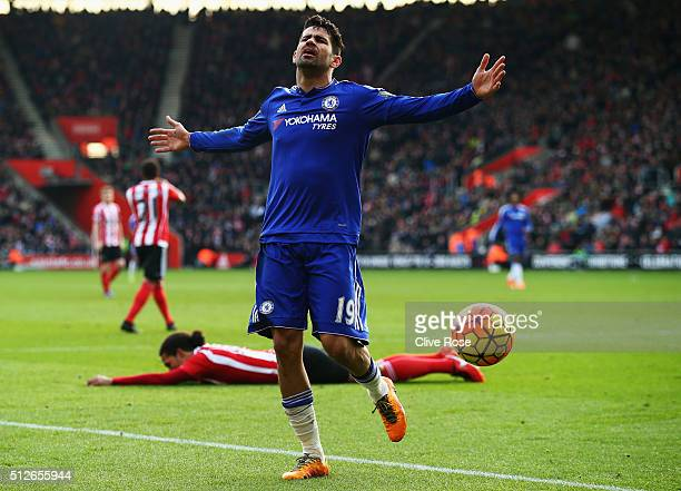 Diego Costa of Chelsea reacts during the Barclays Premier League match between Southampton and Chelsea at St Mary's Stadium on February 27 2016 in...