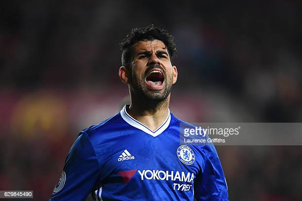 Diego Costa of Chelsea reacts during the Premier League match between Sunderland and Chelsea at Stadium of Light on December 14 2016 in Sunderland...