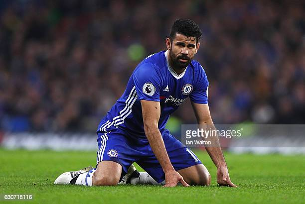 Diego Costa of Chelsea reacts during the Premier League match between Chelsea and Stoke City at Stamford Bridge on December 31 2016 in London England