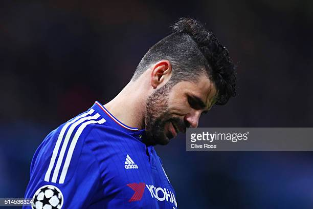 Diego Costa of Chelsea reacts during the UEFA Champions League round of 16 second leg match between Chelsea and Paris Saint Germain at Stamford...
