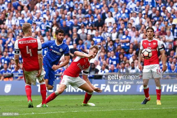 Diego Costa of Chelsea scores a goal to make it 11 during the Emirates FA Cup Final match between Arsenal and Chelsea at Wembley Stadium on May 27...