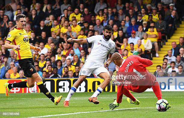 Diego Costa of Chelsea scores his sides second goal during the Premier League match between Watford and Chelsea at Vicarage Road on August 20 2016 in...