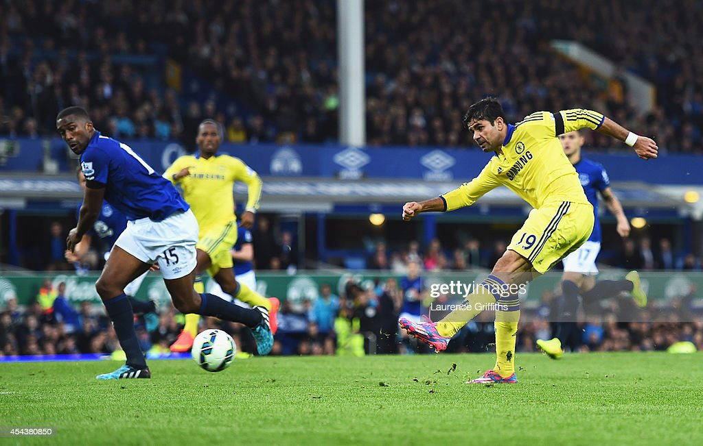 Diego Costa of Chelsea scores his team's sixth goal during the Barclays Premier League match between Everton and Chelsea at Goodison Park on August 30, 2014 in Liverpool, England.